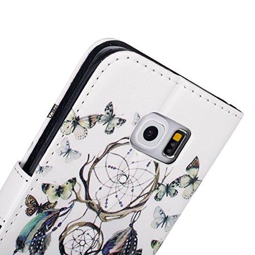 Funda para [Samsung Galaxy S6 Edge] ,ETSUE PU Cuero Cover Case para Samsung Galaxy S6 Edge,Funda de Cuero Pintado de Moda Patrón con la Mariposa Protector de Funda para telefono movil para Samsung Gal Mariposa Campá nula