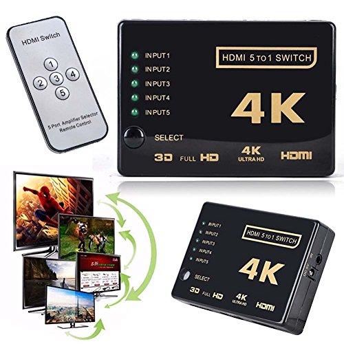 HDMI Switcher,Ragdoll50 3D 1080p 5Port 4K Switcher Selector Splitter Hub +IR Remote For HDTV ()