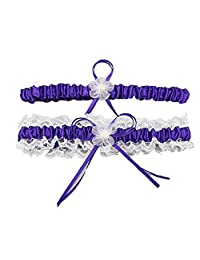 FJMM Womens' Lace Satin Wedding Garter Set of Two Pearl Stretch for Bride