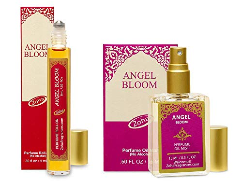 Angel Bloom Perfume Oil - Angel Fragrance oil set of 9ml Roll-On and 15ml Oil Mist (no Alcohol) Perfumes for Women and Men in Giftable boxes (Angel Roll On Perfume)