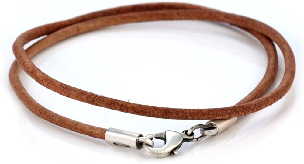 Bico 3mm (0.12 inch) Brown Leather Necklace (CL7 Brown)