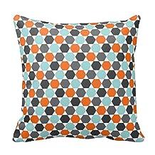 "Gray Orange Aqua Blue Geometric Hexagon Pattern Throw Pillow Fashion Throw Pillow Case Shell Decorative Cushion Cover 18 x 18"""