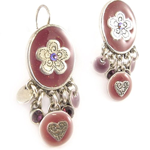 (Earrings/Dormeuses 'french touch' 'Salome' pink purple.)