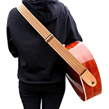 Phorcs Guitar Strap with Genuine Leather End for Acoustic Bass Ukelele and Electric Guitar - Include Guitar Picks & Strap Button & Strap Blocks & Guitar Pick Holder Bracelet