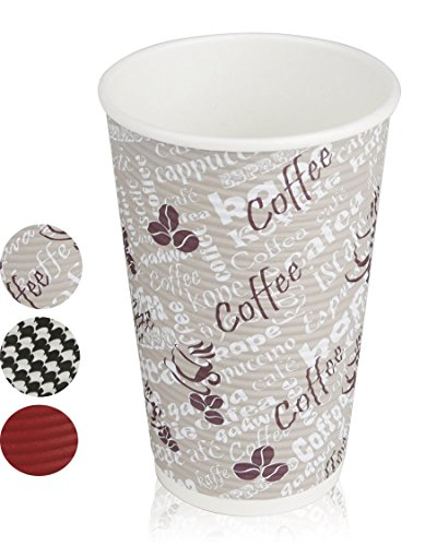 Quality Disposable Hot Coffee Insulated Cups By Golden Spoon - 50 Pack - Stylish Contemporary Ripple Design - Perfect For Coffee Shops And Bars (16 oz, Coffee Design)