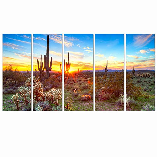 Sea Charm - Amazing Landscape Painting of North American Sonoran Desert at Sunset Botanical Cactus Picture Print on Canvas for Living Room Decoration Ready to Hang Each Piece 12
