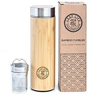 Original Bamboo Tumbler with Tea Infuser & Strainer by LeafLife   17oz Stainless Steel Water Bottle   Vacuum Insulated Coffee Travel Mug   BPA-Free   Mesh Filter for Brewing Loose Leaf & Fruit Infused