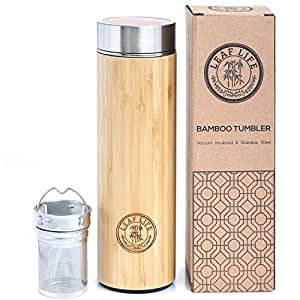 Bamboo Tumbler with Tea Infuser & Strainer by LeafLife | 17oz Stainless Steel Water Bottle | Vacuum Insulated Coffee Travel Mug | BPA-Free | Mesh Filter for Brewing Loose Leaf & Fruit Infused