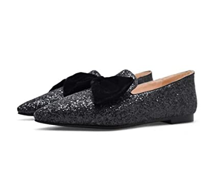4f6bb1c3e11 Women Pump Ballerina Flats Pointed Toe Bow Knot Loafer Slip On Simple  Sequins Comforty Casual Shoes