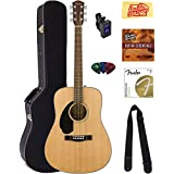 Fender CD-60S Dreadnought Acoustic Guitar - Left Handed, Natural Bundle with Hard Case, Tuner, Strap, Strings, Picks, Instructional DVD, Polishing Cloth