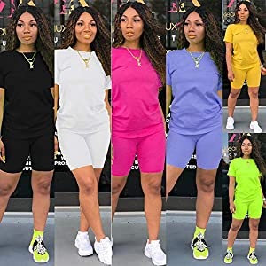 Two Piece Outfits for Women – Casual Short Sleeve Sweatshirt and Skinny Long Pants Tracksuit Set