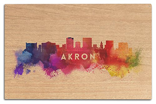 Akron, Ohio - Skyline Abstract (10x15 Wood Wall Sign, Wall Decor Ready to - Style Akron 10