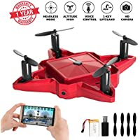 Mini Drone Drones with Camera Live Video Foldable Pocket Nano RC Drones Quadcopter FPV Chargeable Selfie Drone for Beginners 2.4GHz Altitude Hold One Key Start (RED)