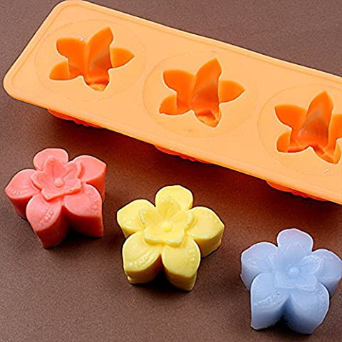 Chawoorim Silicone Soap Craft Molds - DIY Art Soap Candle Making Tools Homemade Soap Molds Flower Tray 3 Star - Flower Silicone Candle