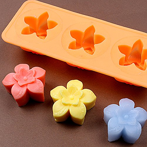 Chawoorim Silicone Soap Craft Molds – DIY Art Soap Candle Making Tools Homemade Soap Molds Flower Tray 3 Star Flower