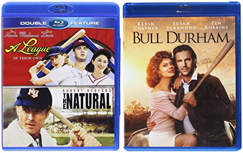 Hard-hit Line Drive Triple Feature Baseball Movie Pack The Natural / A League of Their Own & Bull Durham 3 Blu Ray Feature Sport Films ()