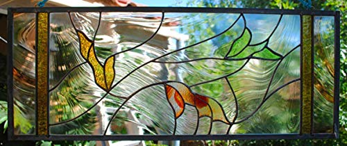 Leaf Stained Glass Window Panel Falling Leaves rust taupe cypress green ()