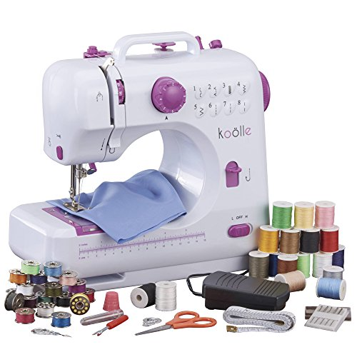 Koölle Electric Compact Sewing Machine With 16 Coloured Thread Spools 16 Coloured Bobbins 5 Needles 1 Needle Threader Measuring Tape Thimble and Foot...