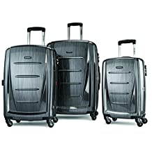 Samsonite Luggage Winfield 2 Fashion 3-Piece Spinner Set, Checked Large, Charcoal