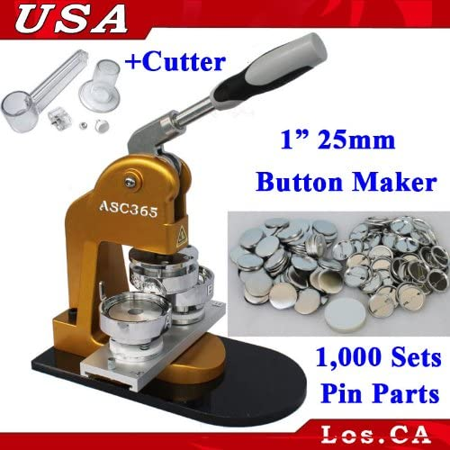 Badge Maker Machine Interchangeable Button+Free Circle Cutter+1000 Pin Back 25mm