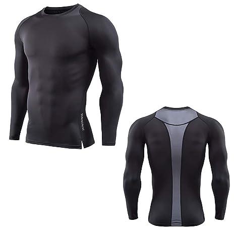 Rawdah_Camisetas De Hombre Manga Larga Camiseta De Manga Larga Rashguard De Fitness para Hombre Camiseta Pitillo De Bodybuilding Camisetas De Hombre: ...