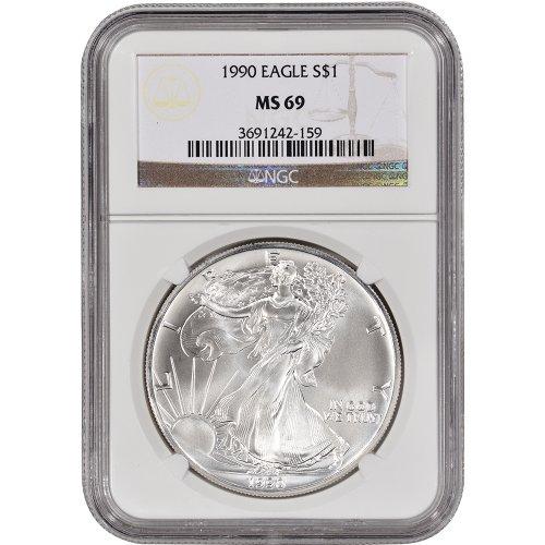 1990 American Silver Eagle $1 MS69 NGC - 1990 American Silver Eagle