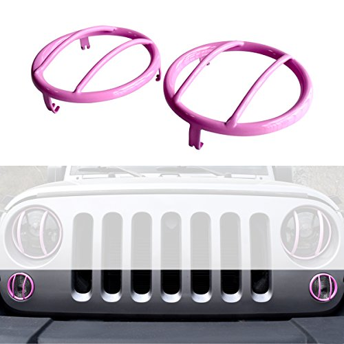 ICARS Hot PINK Turn Signal lights Guards Covers For 2007-2017 Jeep Wrangler - Break Spring Girls 2014