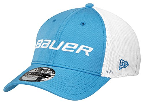 Bauer Men's New Era 39Thirty Mesh Back Cap, Blue, (Bauer Mesh)