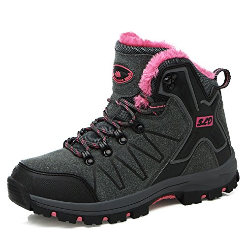 Boots Fur Snow Rise Red Waterproof High Outdoor Grey TUCSSON Warm Women's with Winter Boots w64xnCPqg