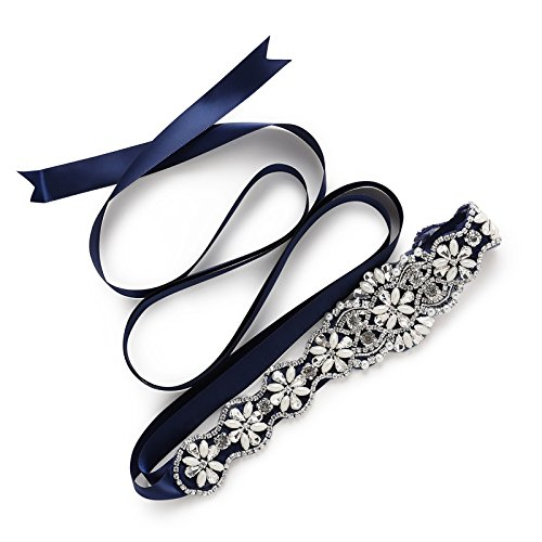 SWEETV Pearl Beaded Wedding Belt Rhinestone Bridal Belt Bridesmaid Sash for Dress & Gown, Royal Blue
