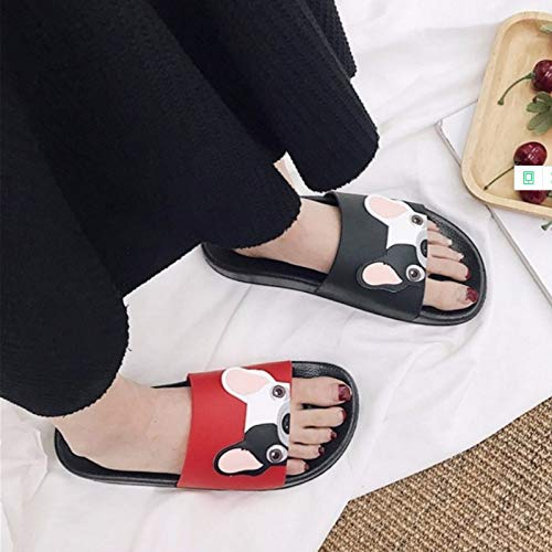 Amazon.com: JingZhou Cute Dog Cartoon Women Slides 2018 Fashion Pu Leather Beach Shoes Flat Heels Flip Flops Barefoot Slippers Zapatillas: Garden & Outdoor