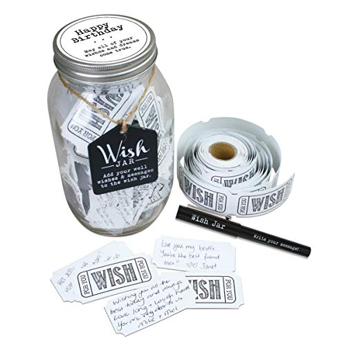 TOP SHELF Happy Birthday Wish Jar ; Unique Gift Ideas for Mom, Dad, Sister and Brother ; Memorable Gifts for Men and Women ; Kit Comes with 100 Tickets and Decorative Lid