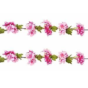 M2cbridge Artificial Cherry Blossom Flowers vine Garland Hanging Vine Silk Garland Wedding Party Decor, Pack of 2 49