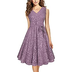 Furnex Lace Bridesmaid Dresses, Elegant Dresses for Wedding Party for Date Night V Neck Sleeveless Slim Fit A Line Lace Dress (X-Large Violet)