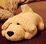CINRA Super plush dog tissue box handkerchief case cartoon paper towel tube Tissue Cover Paper Holder napkin box Paper Storage Box paper container for Car Home Use bathroom accessories (rice white)