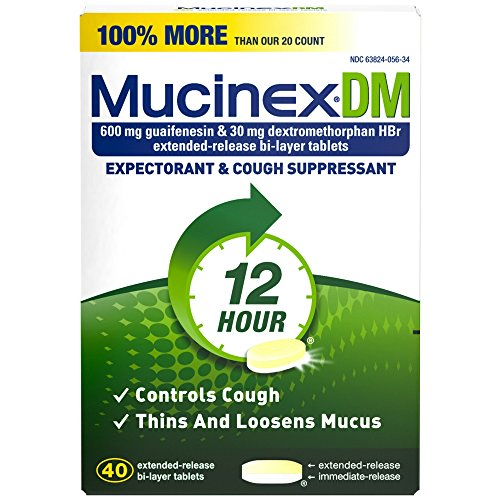 Mucinex DM 12-Hour Expectorant and Cough Suppressant Tablets, 40 ct