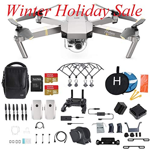 DJI Mavic Pro Platinum Fly More Combo Collapsible Quadcopter Drone (Latest Version) Bundle with Additional Memory Card, 2 Extra Battery, Landing Kit and More For Sale