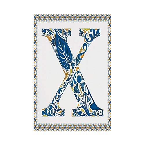 Polyester Garden Flag Outdoor Flag House Flag Banner,Letter X,Nature Inspired Arrangement Flowers Leaves European Style Letter Print Decorative,Blue Yellow Orange,for Wedding Anniversary Home Outdoor