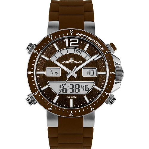 Jacques Lemans Men's 'Milano' Quartz Stainless Steel and Silicone Casual Watch, Color:Brown (Model: 1-1712W)