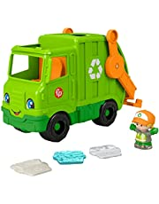 Fisher-Price Little People Recycling Truck, Push-Along Musical Toy with Figure for Toddlers and Preschool Kids Ages 1 to 5 Years