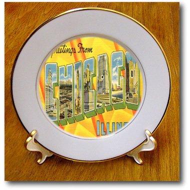 (3dRose cp_194637_1 Print of Chicago Retro Postcard Cutout Porcelain Plate, 8