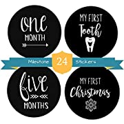 Milestones Stickers 24 Pack-Monthly Stickers for Boys and Girls by The Hamptons Baby, 12 Month by Month Stickers & 12 Firsts Milestone and Holiday Stickers!