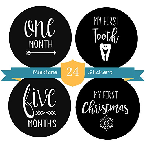 Milestones Stickers 24 Pack-Monthly Stickers for Boys and Girls by The Hamptons Baby, 12 Month by Month Stickers & 12 Firsts Milestone and Holiday (Words Created From The Word Halloween)