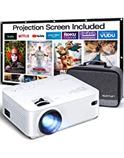 APEMAN Mini Projector, 1080P Supported, 200'' Max Display 60000 Hrs Lamp Life Portable Video Projector, Compatible with HDMI, PS4, TV Stick, VGA, TF, AV, USB Drive, Carry Bag and 100'' Screen Included