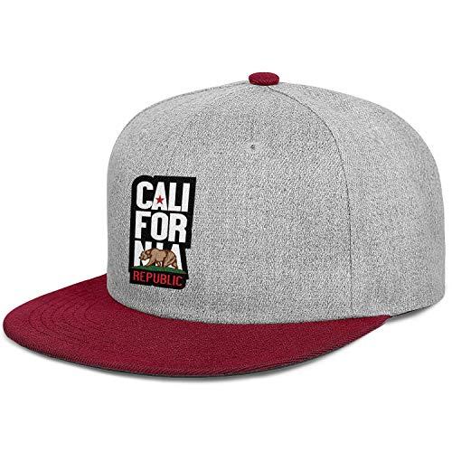 California Republic Bear Symbol California Four Seasons Hats Cotton Mens' Womens Strapback Hat]()
