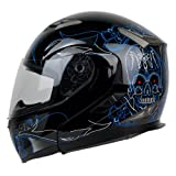 modular helmet pgr - PGR F99 PINSTRIPE Modular Flip Up Dual Visor Full Face with Sun Shield DOT APPROVED Motorcycle Touring MAX Helmet (XXLARGE, BLACK BLUE)