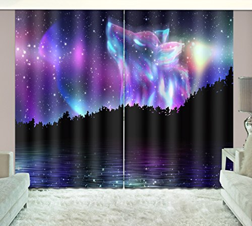 84' Dining Sets Pattern (LB Teen Kids Room Darkening Blackout Window Curtains,The Wolf Pattern in the Starry Sky 3D Window Treatment Curtains Living Room Bedroom Window Drapes 2 Panels Set,80W x 84L Inches)
