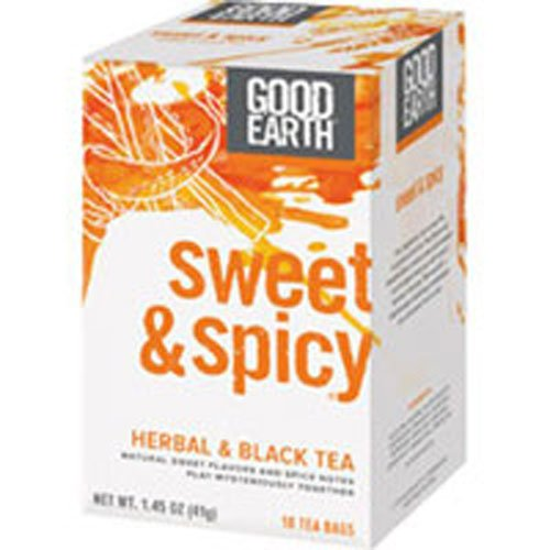 Good Earth Sweet & Spicy Herbal & Black Tea, 18 Tea bags, 1.43 Ounce (Pack of 3)