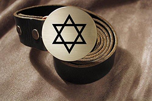 Star of David JEWISH Etched Metal Belt Buckle