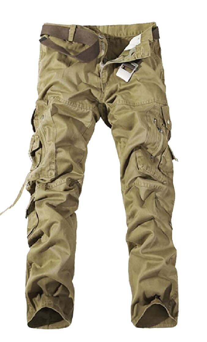 Comaba Men Outdoor Climber Pocket Trim Plus Size Chino Pants Trousers